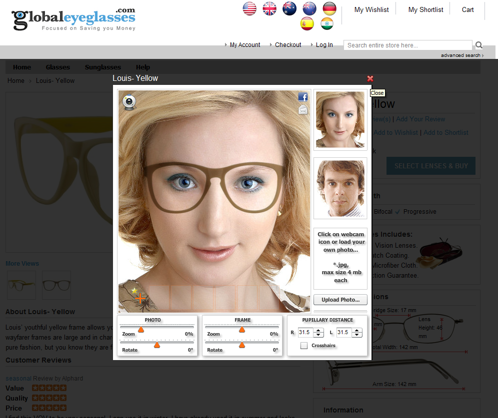 21eb08b77b Find you perfect frame online with our virtual mirror. Skeptical about purchasing  eyeglasses ...